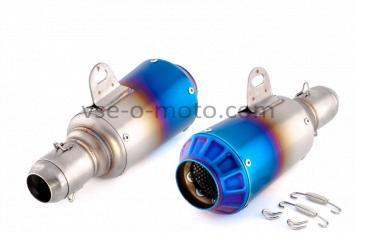 Глушитель (тюнинг)   380*125mm   (нержавейка, три-овал, синий, прямоток)   118