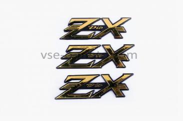 Наклейка   шильдик   ZX   (14x4см, 3шт, пластик)   (#2032ZX)