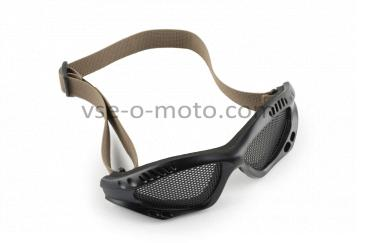Очки мото   KOESTLER   (на резинке, черные, c перфорационным стеклом)