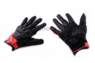 Перчатки   ALPINESTARS   (mod:MUSTANG, size:XL, черно-красные, кожа)